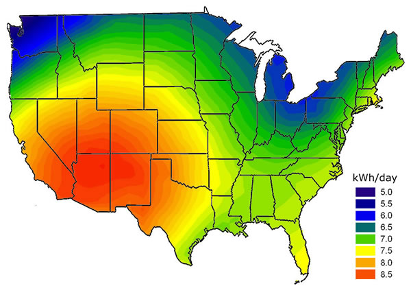 Map of the United States showing kWh per day for solar resources.
