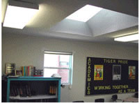 Daylit portable classrooms save energy and improve light levels.